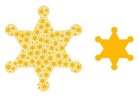 Recursive mosaic sheriff star and source icon. Vector mosaic is organized of random sheriff star icons. Flat vector design on a white background. Illusztráció