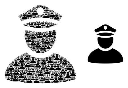Fractal collage police man and basic icon. Vector collage is constructed with recursive police man elements. Flat vector design on a white background. Illustration