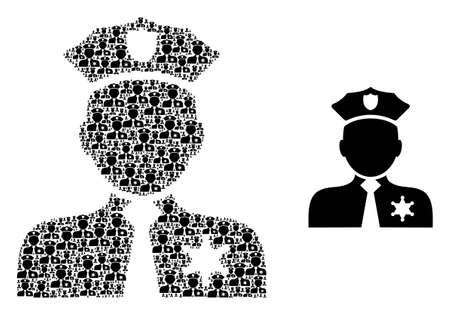 Recursive combination police person and basic icon. Vector mosaic is composed from recursive police person elements. Flat vector design on a white background. Illustration