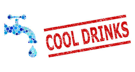 Rounded dot collage water tap and COOL DRINKS rubber stamp seal. Stamp includes COOL DRINKS title between parallel lines. Vector collage is based on water tap icon, Stock fotó - 154695020