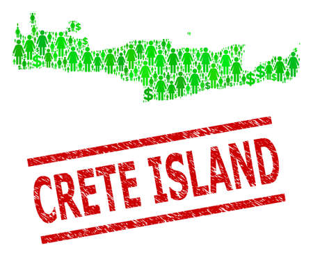 Green dollar and people mosaic map of Crete Island and textured seal stamp. Stamp seal includes CRETE ISLAND title between parallel lines. Mosaic map of Crete Island constructed of green dollars,
