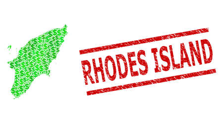 Green dollar and clients mosaic map of Rhodes Island and scratched seal stamp. Stamp seal includes RHODES ISLAND tag between parallel lines. Mosaic map of Rhodes Island designed from green dollars,