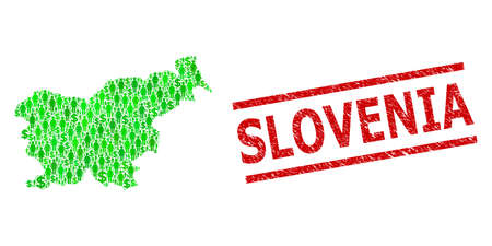 Green dollar and people mosaic map of Slovenia and unclean seal stamp. Stamp seal includes SLOVENIA caption between parallel lines. Mosaic map of Slovenia constructed with green dollars,