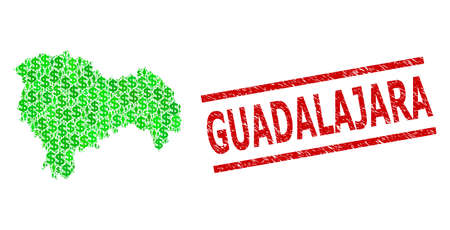 Green dollar and clients mosaic map of Guadalajara Province and textured seal stamp. Stamp seal includes GUADALAJARA tag between parallel lines.  イラスト・ベクター素材