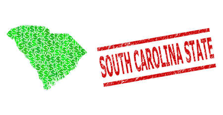 Green dollar and clients mosaic map of South Carolina State and corroded seal. Seal includes SOUTH CAROLINA STATE title between parallel lines.