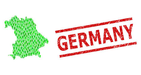 Green dollar and clients mosaic map of Germany and textured seal stamp. Stamp seal includes GERMANY caption between parallel lines. Mosaic map of Germany designed with green dollars,