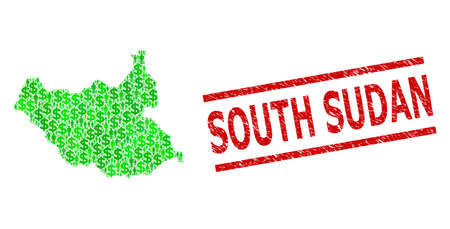 Green dollar and men mosaic map of South Sudan and rubber seal. Stamp seal includes SOUTH SUDAN tag between parallel lines. Mosaic map of South Sudan designed from green dollars,
