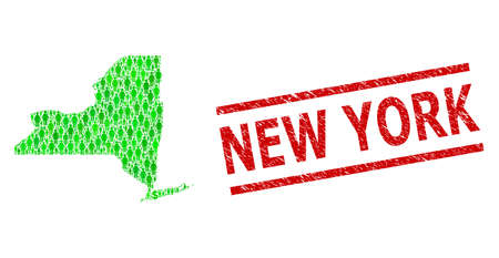 Green dollar and men mosaic map of New York State and rubber seal stamp. Stamp seal includes NEW YORK caption between parallel lines. Mosaic map of New York State constructed with green dollars,