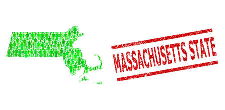 Green dollar and customers mosaic map of Massachusetts State and textured seal. Seal includes MASSACHUSETTS STATE title between parallel lines.