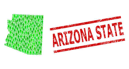 Green dollar and customers mosaic map of Arizona State and unclean seal stamp. Stamp seal includes ARIZONA STATE tag between parallel lines. Mosaic map of Arizona State constructed of green dollars,  イラスト・ベクター素材