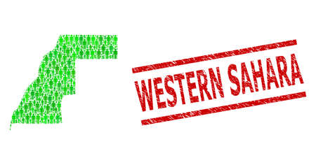 Green dollar and people mosaic map of Western Sahara and rubber seal stamp. Stamp seal includes WESTERN SAHARA title between parallel lines. Mosaic map of Western Sahara designed of green dollars,