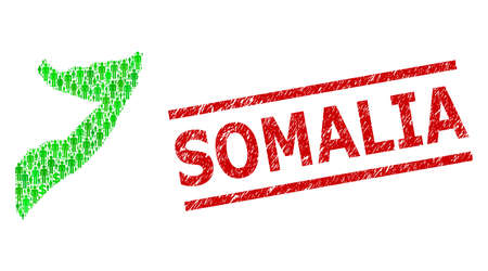Green dollar and men mosaic map of Somalia and rubber stamp. Stamp includes SOMALIA title between parallel lines. Mosaic map of Somalia constructed from green dollars, and men symbols.