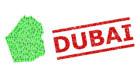 Green dollar and people mosaic map of Dubai Emirate and unclean seal stamp. Stamp seal includes DUBAI title between parallel lines. Mosaic map of Dubai Emirate designed from green dollars,