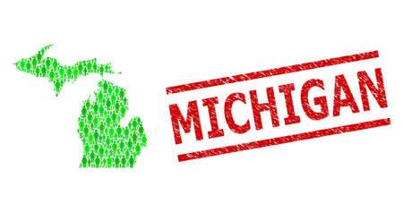 Green dollar and men mosaic map of Michigan State and unclean seal. Stamp seal includes MICHIGAN text between parallel lines. Mosaic map of Michigan State designed from green dollars, and men icons.  イラスト・ベクター素材