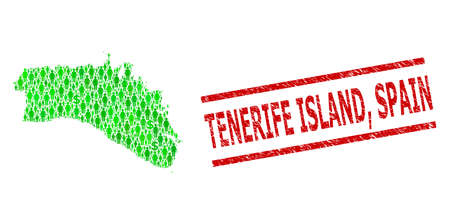 Green dollar and clients mosaic map of Menorca Island and textured seal stamp. Stamp seal includes TENERIFE ISLAND, SPAIN title between parallel lines.