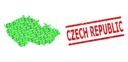 Green dollar and people mosaic map of Czech Republic and rubber seal stamp. Stamp seal includes CZECH REPUBLIC text between parallel lines. Mosaic map of Czech Republic constructed of green dollars, Vettoriali