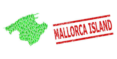 Green dollar and clients mosaic map of Majorca and grunge seal stamp. Stamp includes MALLORCA ISLAND caption between parallel lines. Mosaic map of Majorca constructed from green dollars,