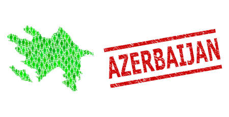 Green dollar and people mosaic map of Azerbaijan and grunge seal stamp. Stamp seal includes AZERBAIJAN title between parallel lines. Mosaic map of Azerbaijan constructed with green dollars, Vettoriali