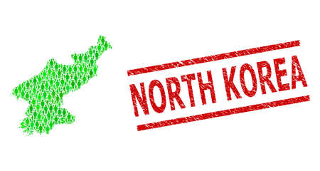 Green dollar and men mosaic map of North Korea and unclean seal stamp. Seal includes NORTH KOREA tag between parallel lines. Mosaic map of North Korea constructed from green dollars, Vettoriali