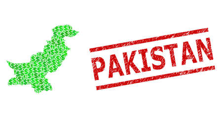 Green dollar and men mosaic map of Pakistan and dirty seal stamp. Stamp includes PAKISTAN caption between parallel lines. Mosaic map of Pakistan designed from green dollars,
