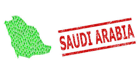 Green dollar and people mosaic map of Saudi Arabia and unclean seal. Stamp seal includes SAUDI ARABIA tag between parallel lines. Mosaic map of Saudi Arabia constructed of green dollars,