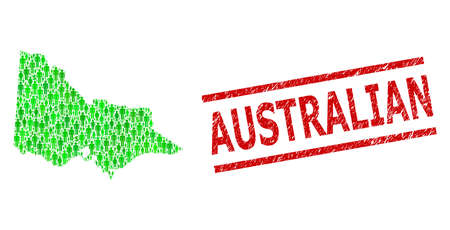 Green dollar and clients mosaic map of Australian Victoria and unclean seal stamp. Stamp seal includes AUSTRALIAN tag between parallel lines.