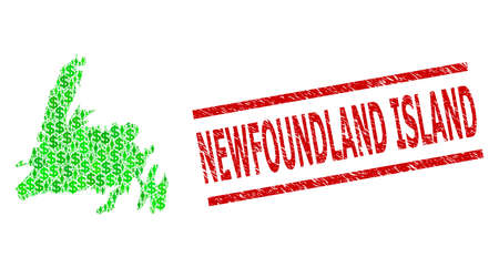 Green dollar and people mosaic map of Newfoundland Island and scratched seal stamp. Seal includes NEWFOUNDLAND ISLAND text between parallel lines.
