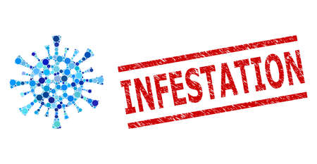 Round dot combination corona virus and INFESTATION unclean stamp seal. Stamp seal includes INFESTATION tag between parallel lines. Vector collage is based on corona virus symbol,