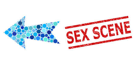 Round dot mosaic arrow left and SEX SCENE rubber seal. Seal includes SEX SCENE text between parallel lines. Vector collage is based on arrow left icon, and created of random blue round parts.
