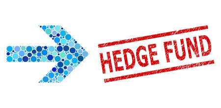 Circle combination arrow right and HEDGE FUND dirty stamp seal. Seal includes HEDGE FUND caption between parallel lines. Vector collage is based on arrow right symbol,