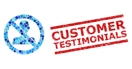 Circle mosaic forbidden man and CUSTOMER TESTIMONIALS rubber stamp print. Stamp includes CUSTOMER TESTIMONIALS text between parallel lines. Vector mosaic is based on forbidden man symbol, Vettoriali