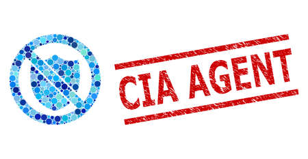 Rounded dot mosaic no shield and CIA AGENT unclean seal. Seal includes CIA AGENT caption between parallel lines. Vector mosaic is based on no shield symbol, Ilustração