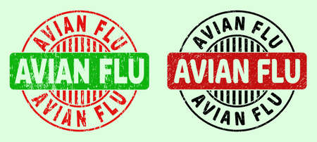 AVIAN FLU bicolor round imprints with distress style. Flat vector grunge watermarks with AVIAN FLU title inside round shape, in red, black, green colors. Round bicolor stamps.