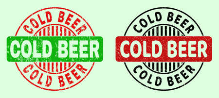 COLD BEER bicolor round watermarks with scratched texture. Flat vector scratched seal stamps with COLD BEER phrase inside circle, in red, black, green colors. Round bicolour seal stamps. Vetores