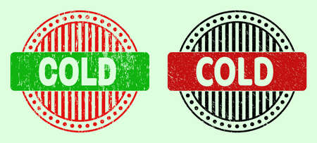 COLD bicolor round watermarks with scratched style. Flat vector scratched stamps with COLD phrase inside round shape, in red, black, green colors. Round bicolour seal stamps. Illustration