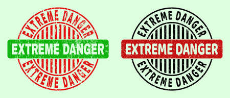 EXTREME DANGER bicolor round watermarks with scratched texture. Flat vector grunge stamps using EXTREME DANGER message inside round shape, in red, black, green colors. Round bicolor stamps.