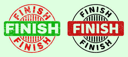FINISH bicolor round imprints with grunged surface. Flat vector distress seal stamps using FINISH message inside round shape, in red, black, green colors. Round bicolor seal stamps.