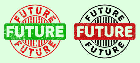 FUTURE bicolor round watermarks with unclean texture. Flat vector scratched watermarks with FUTURE caption inside round shape, in red, black, green colors. Rounded bicolor seal stamps.