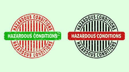 HAZARDOUS CONDITIONS bicolor round imprints with corroded style. Flat vector distress seal stamps with HAZARDOUS CONDITIONS title inside circle, in red, black, green colors. Round bicolor stamps.