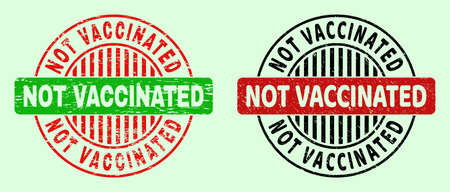 NOT VACCINATED bicolor round watermarks with grunge style. Flat vector distress seal stamps with NOT VACCINATED message inside round shape, in red, black, green colors. Round bicolour seal stamps.