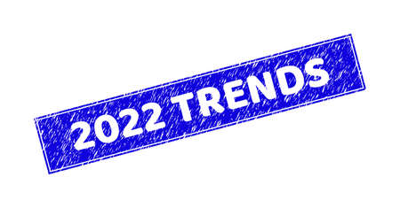 Grunge 2022 TRENDS rectangle stamp seal. 2022 TRENDS stencil label is located inside rectangle with frame. Rectangular seal with grunge texture in blue color.