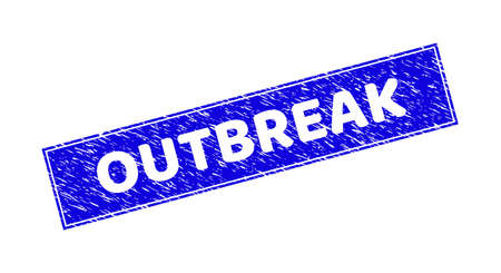 Grunge OUTBREAK rectangle stamp seal. OUTBREAK hole text is located inside rectangle with border. Rectangular seal with grunge texture in blue color.