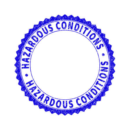 Grunge HAZARDOUS CONDITIONS round rosette stamp seal. Copy space inside circle. Vector blue rubber watermark of HAZARDOUS CONDITIONS label inside round rosette. Stamp seal with corroded texture. 向量圖像