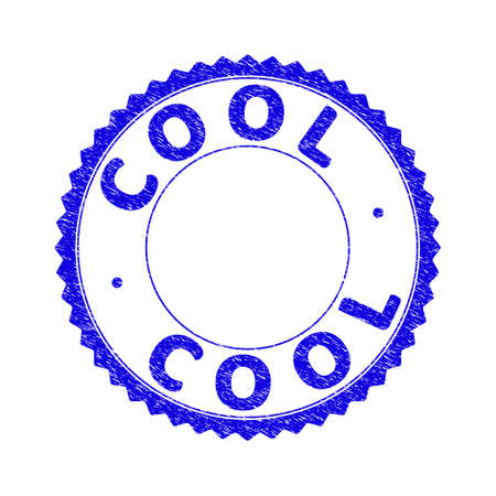 Grunge COOL round rosette stamp. Empty space inside circle. Vector blue rubber overlay of COOL tag inside round rosette. Stamp seal with dirty texture. Seal with grunge texture in blue color.