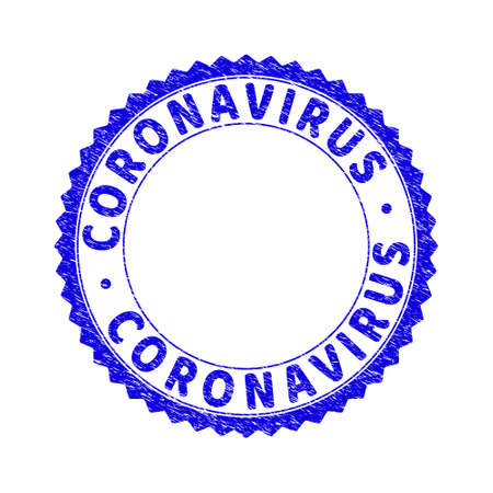 Grunge CORONAVIRUS round rosette stamp seal. Empty space inside circle. Vector blue rubber imprint of CORONAVIRUS title inside round rosette. Stamp seal with grunge texture.