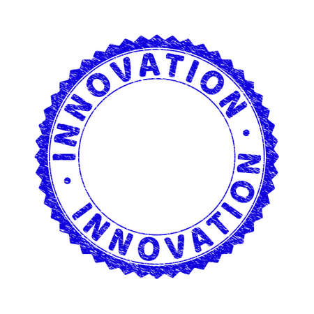 Grunge INNOVATION round rosette stamp seal. Copy space inside circle. Vector blue rubber watermark of INNOVATION text inside round rosette. Stamp seal with scratched texture.