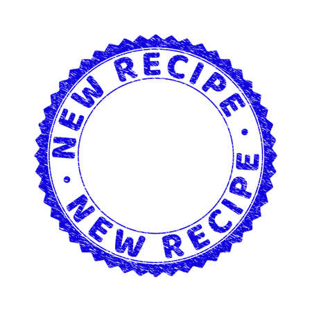 Grunge NEW RECIPE round rosette stamp seal. Empty space inside circle. Vector blue rubber overlay of NEW RECIPE caption inside round rosette. Stamp seal with dirty texture.