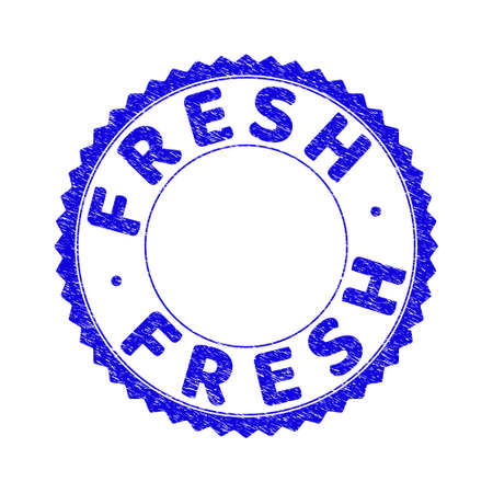 Grunge FRESH round rosette watermark. Copy space inside circle. Vector blue rubber watermark of FRESH tag inside round rosette. Stamp seal with corroded texture.