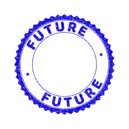 Grunge FUTURE round rosette stamp seal. Empty space inside circle. Vector blue rubber imitation of FUTURE tag inside round rosette. Stamp seal with scratched texture.