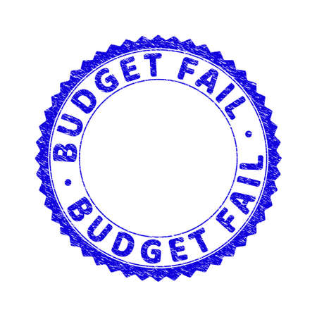 Grunge BUDGET FAIL round rosette stamp seal. Empty space inside circle. Vector blue rubber imitation of BUDGET FAIL title inside round rosette. Stamp seal with dust texture. Ilustración de vector